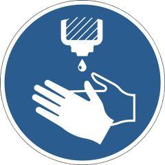 """Advarselsmærkat """"Desinficer hænder"""""""