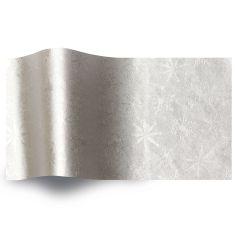 Silkespapper Satin Präglat Silver snö