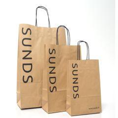 Papirbærepose m snoede håndtag